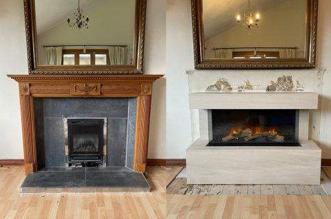 Limestone Studio Fireplace