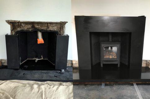 Velletri limestone surround – cast iron insert – granite hearth & gas fire