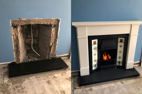 Honed granite fireplace – penman C7 gas stove